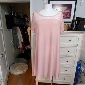 NINA LEONARD BLUSH DRESS WITH LACE YOLK SZ XL NWT